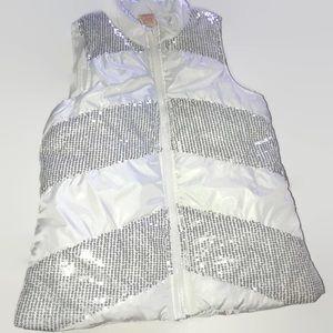 White & Silver Puffy Vest